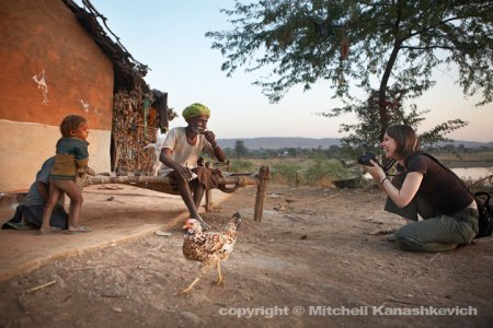 Kym - the young lady who is participating in our private workshop photographing the rural Rajasthani life