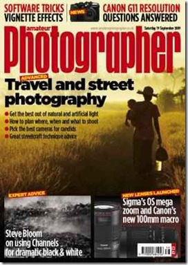 "... I was also featured on the cover of the ""Amateur Photographer"" magazine."