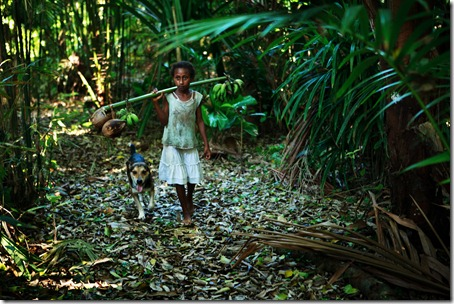 young girl-walk through forest-bush, Rah Lava-Banks-Vanuatu